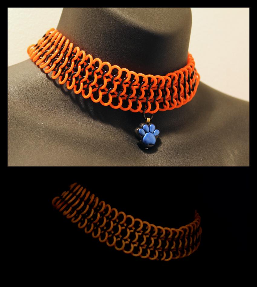 Orange GITD Choker Commission by SerenFey