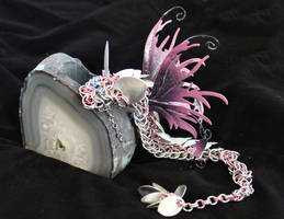 Rose and Silver Chainmaille Faerie Dragon - Up by SilverHauntArmoury