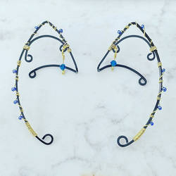 Blue, Black, and Gold Wire Elven Ear Ornaments by SilverHauntArmoury