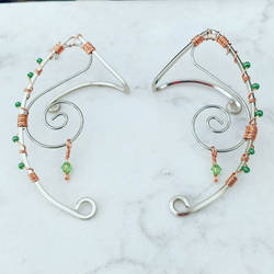 Silver, Gold, and Orange Wire Elven Ear Ornaments by SilverHauntArmoury