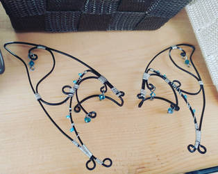 Black and Blue Wire Fae Ear Ornaments by SilverHauntArmoury