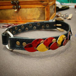 Red and Gold Scaled Leather Collar by SilverHauntArmoury