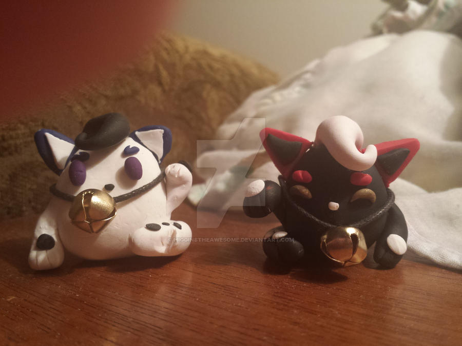 Clay Lucky Cats by HigginstheAwesome