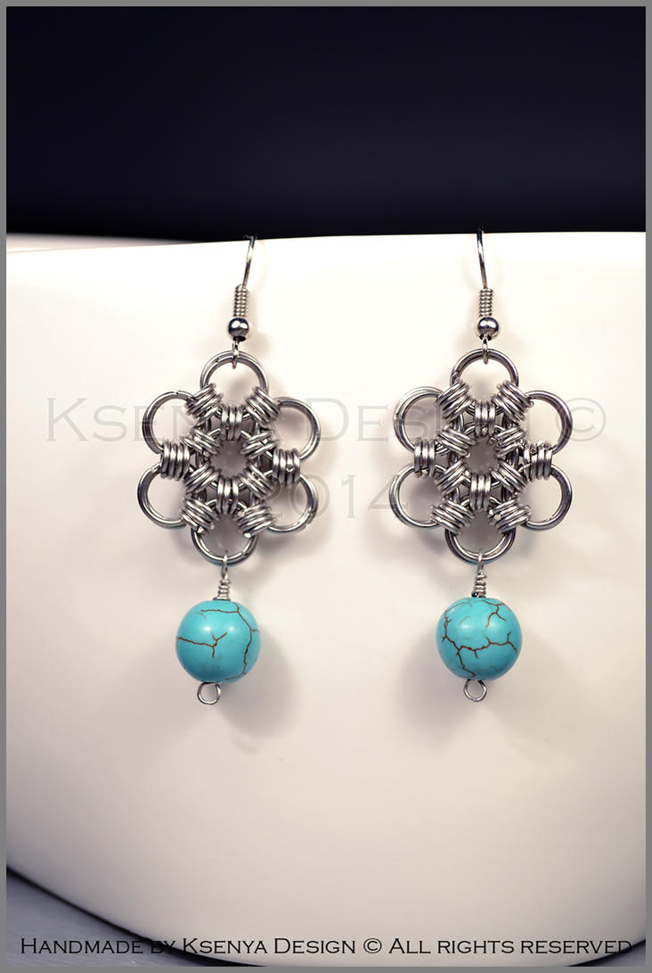Howlite Flower Earrings by KsenyaDesign