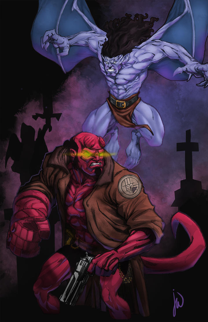 Death match: Hellboy vs Goliath by JoeWillsArt