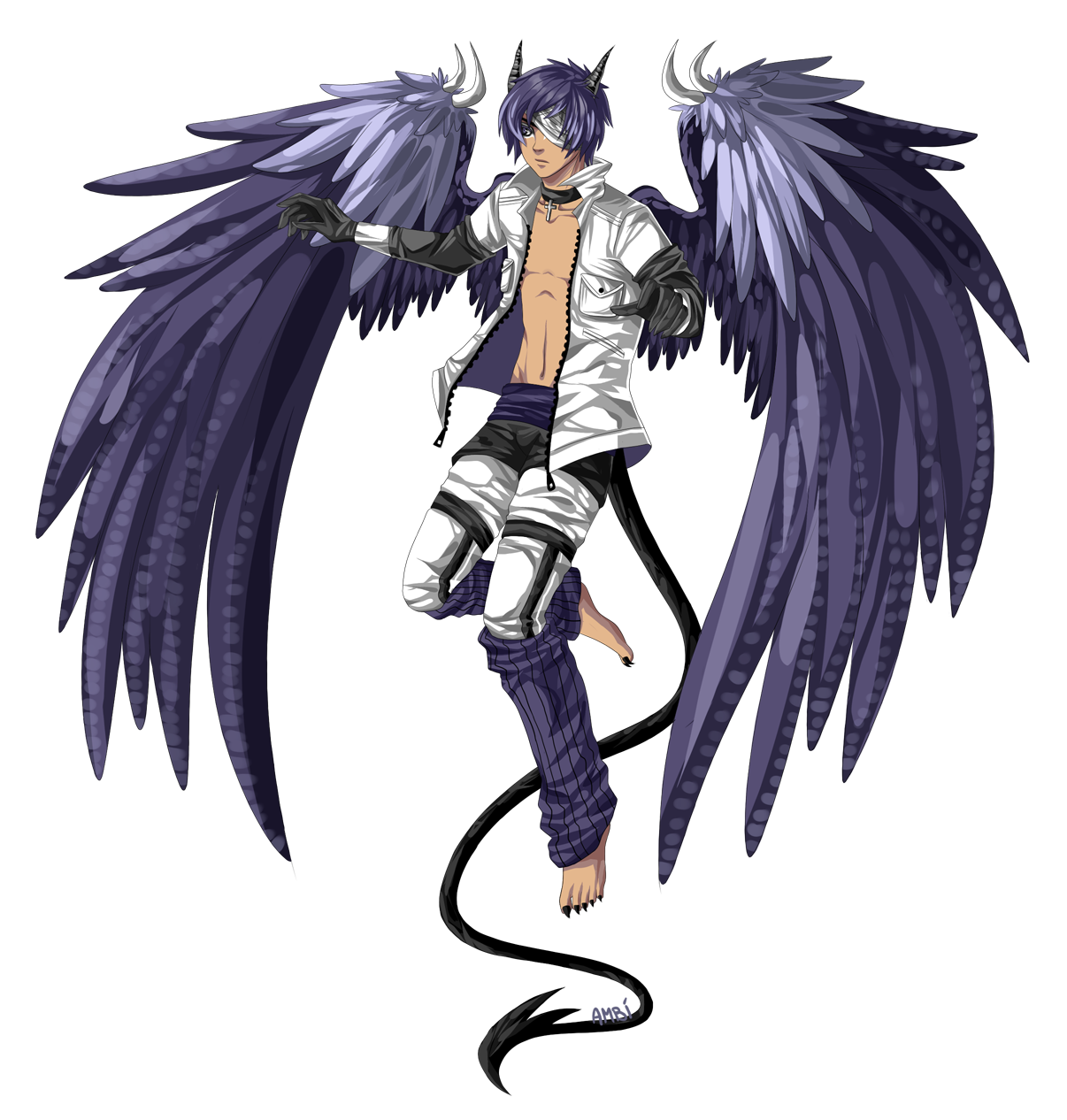 Anime demon boy with wings