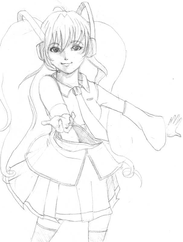 nxt proj miku hatsune sketch by yafurie