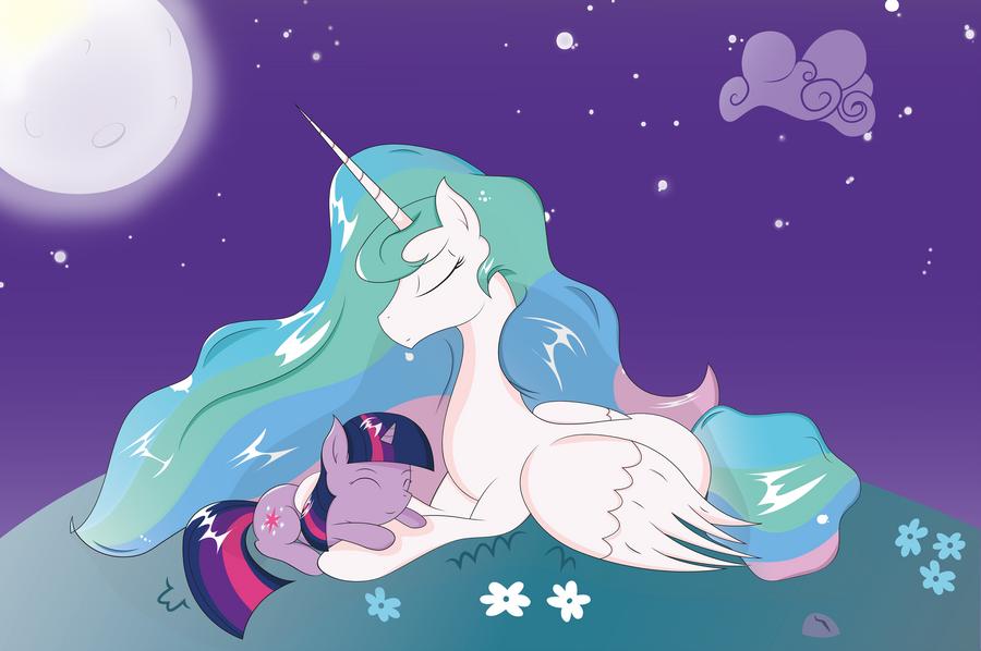 Princess Celestia and Twilight Sparkle by JoeMasterPencil