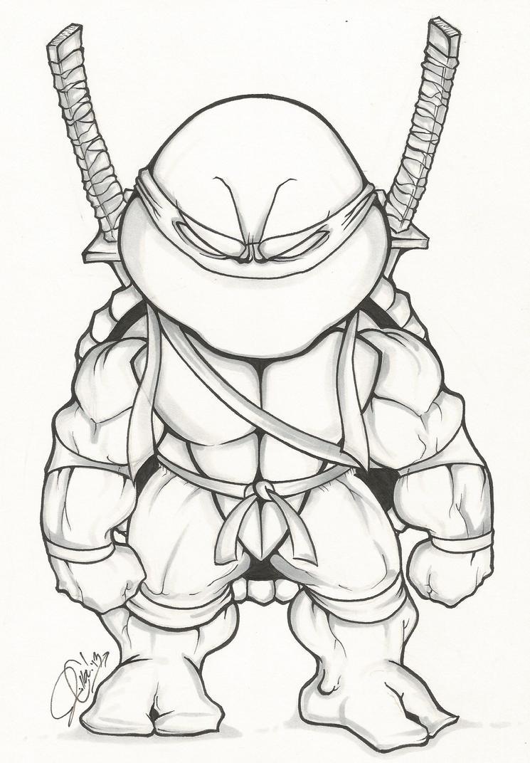 Line Art Ninja Turtles : Tmnt chibi leonardo by dendeone on deviantart