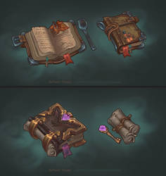 Handpainted fantasy books by AntonioNeves