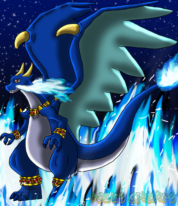 Blue Spitfire the Mega Charizard X by DragonessBlue