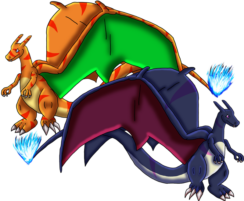 Blaze and Claire-Twin Charizard Siblings by DragonessBlue