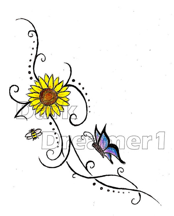 Sunflower, butterfly and bee.