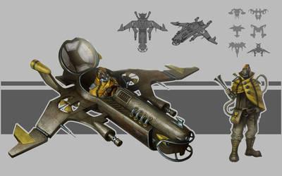 Dieselpunk spaceship. Concept