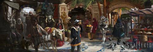 Shattered RPG - Market of Lokoran by RhysGriffiths