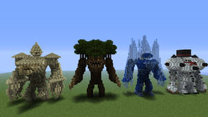 sandstone,wood,ice, and snowman golems
