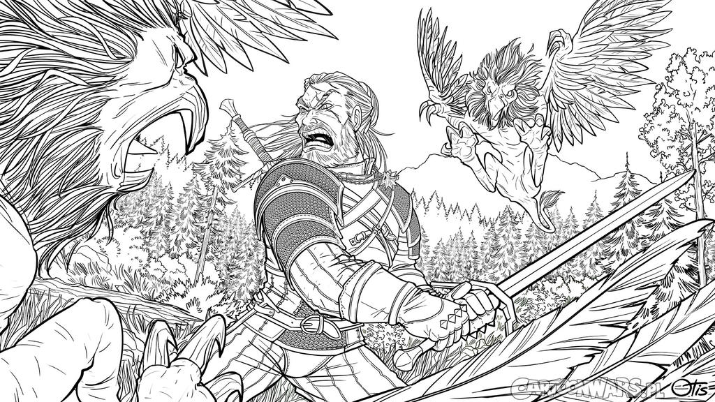Witcher: Wild Hunt fan art without colors by Otisso