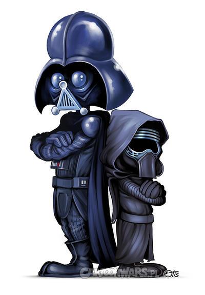 Darth Vader and Kylo Ren cartoon style by Otisso