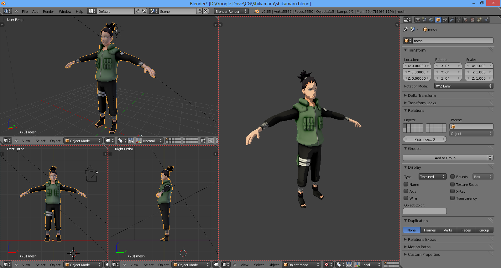 Game Character Modeling In Blender : Shikamaru d model in blender by lasshi on deviantart