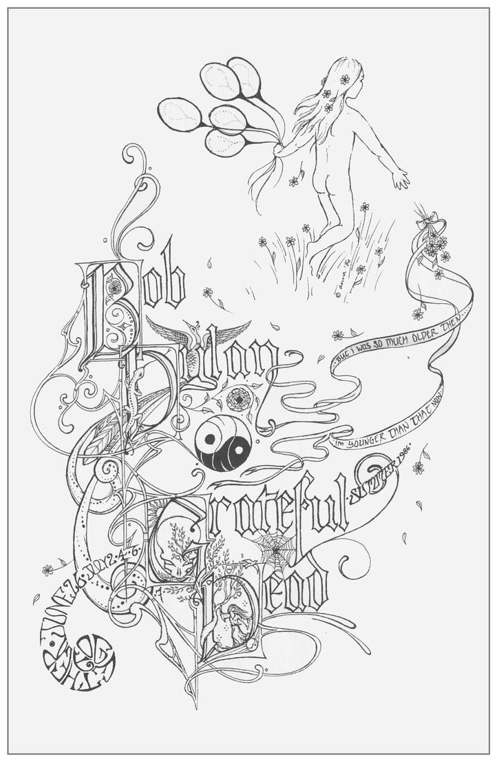 bob dylan grateful dead 1986 by baby snakes - Grateful Dead Coloring Book