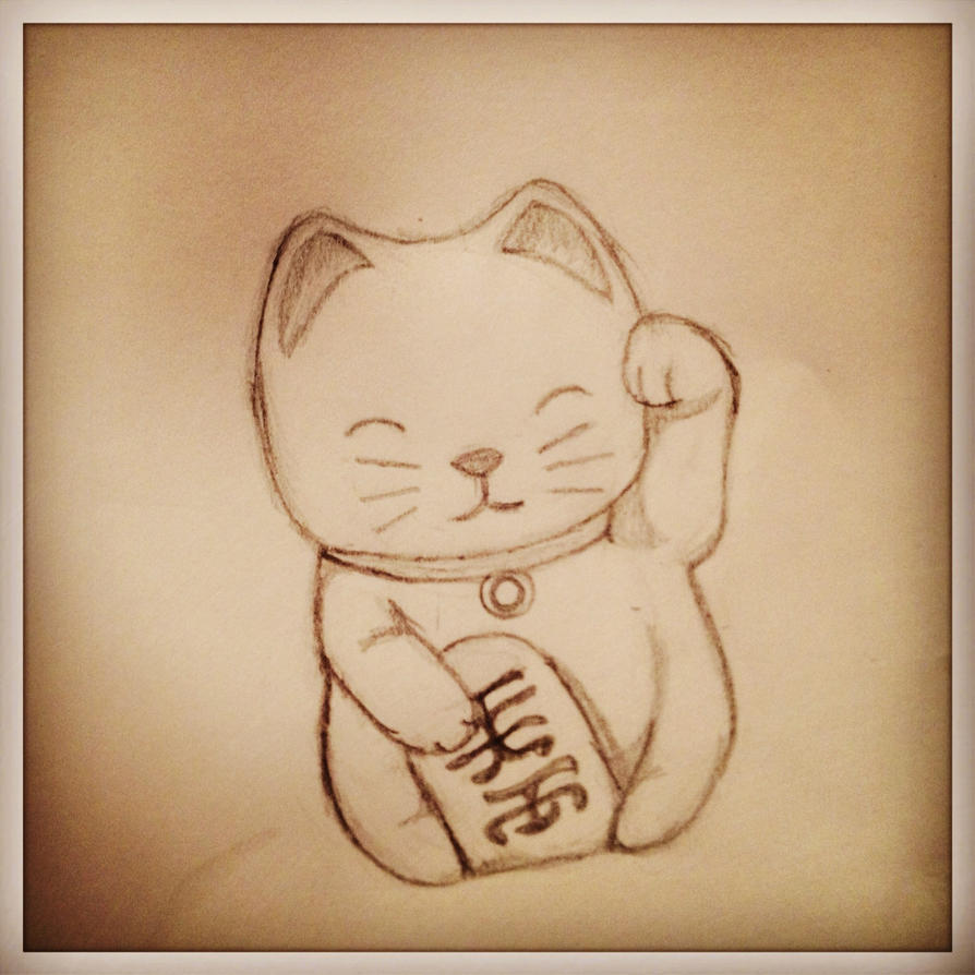 chinese lucky cat drawing