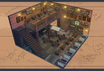 Coffee Shop - Interior Concept Art by iHF95