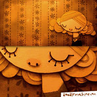 Girl with wallpaper