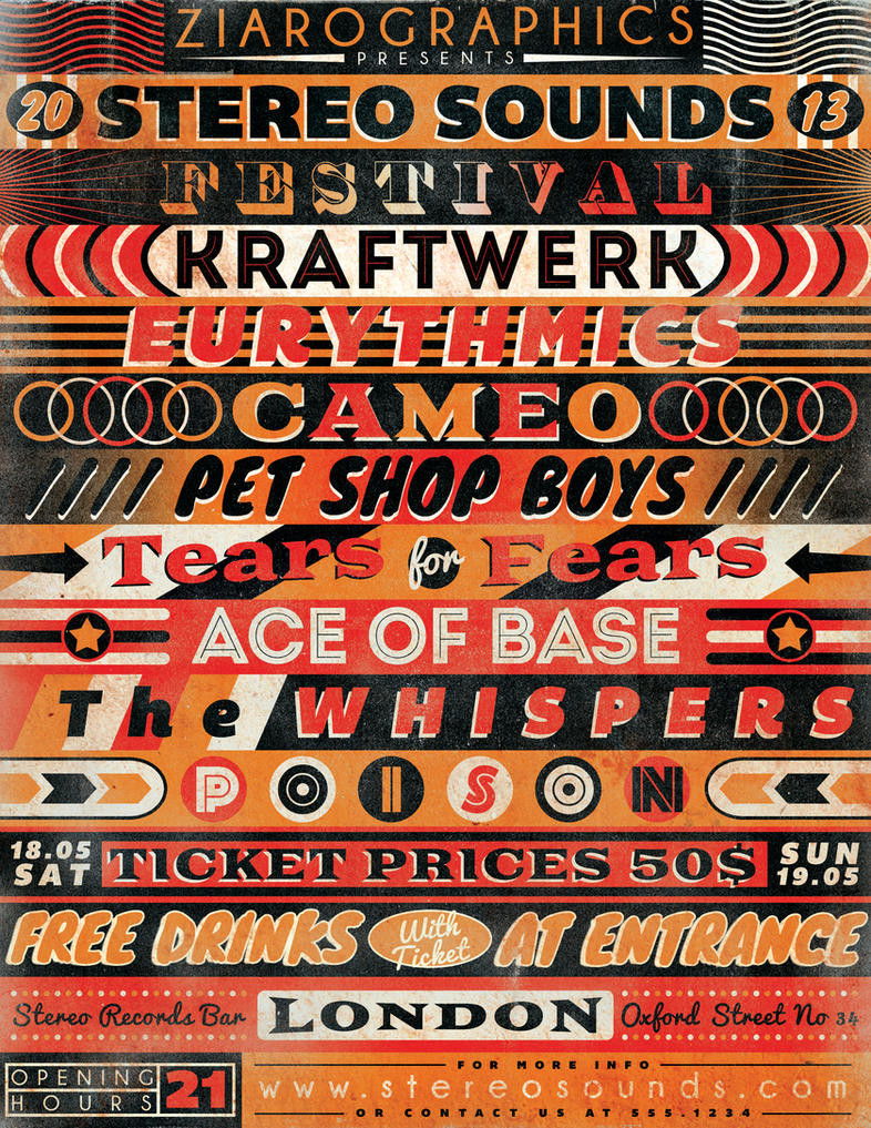 Vintage Typography Gig Poster Flyer No 6 by ZamfirAugustinVintage Typography Poster