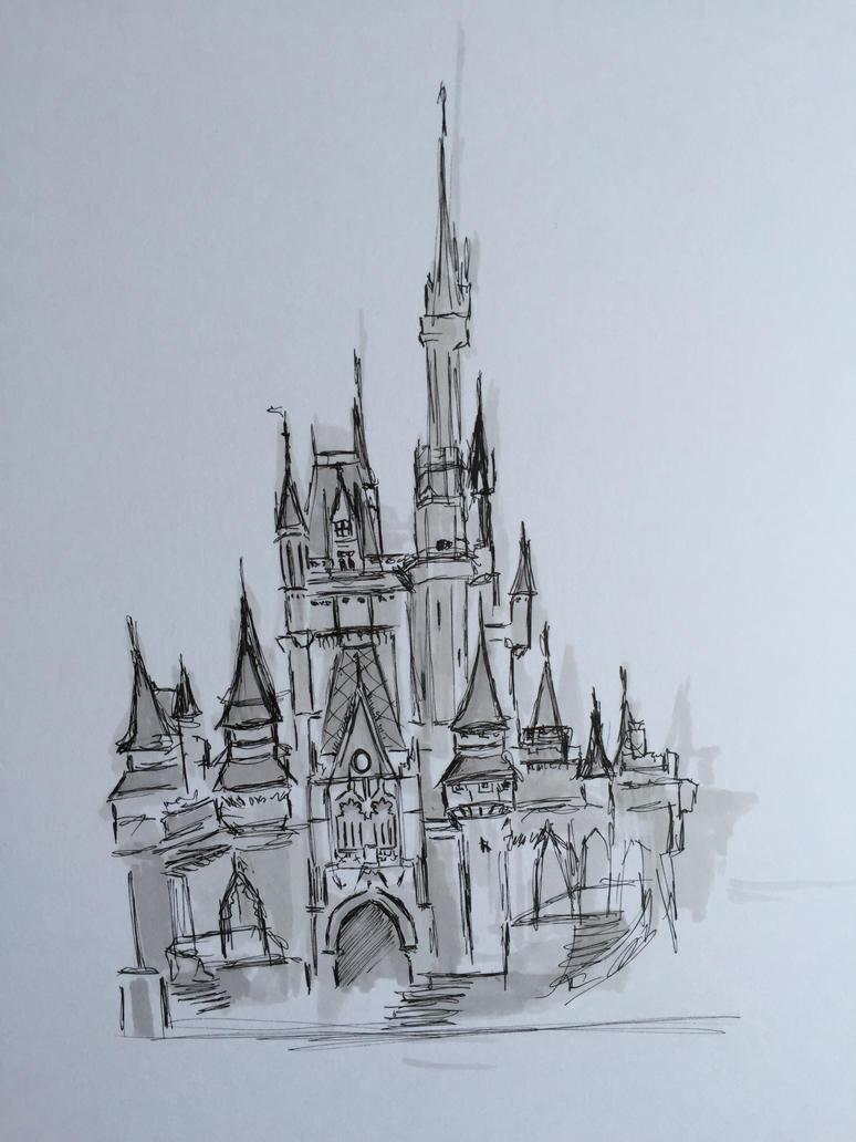 Cinderellas Castle Sketch By Monkeygareth