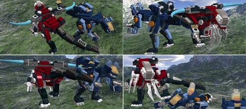 lego zoids rev raptor vs gun sniper by RoZilla42