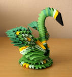 Small Green Swan (3D Origami)