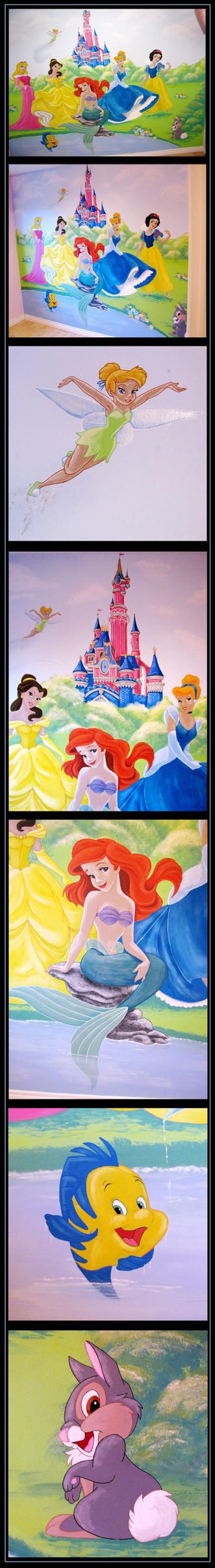 Disney princess mural commission by nightwing1975 on for Disney princess ballroom mural