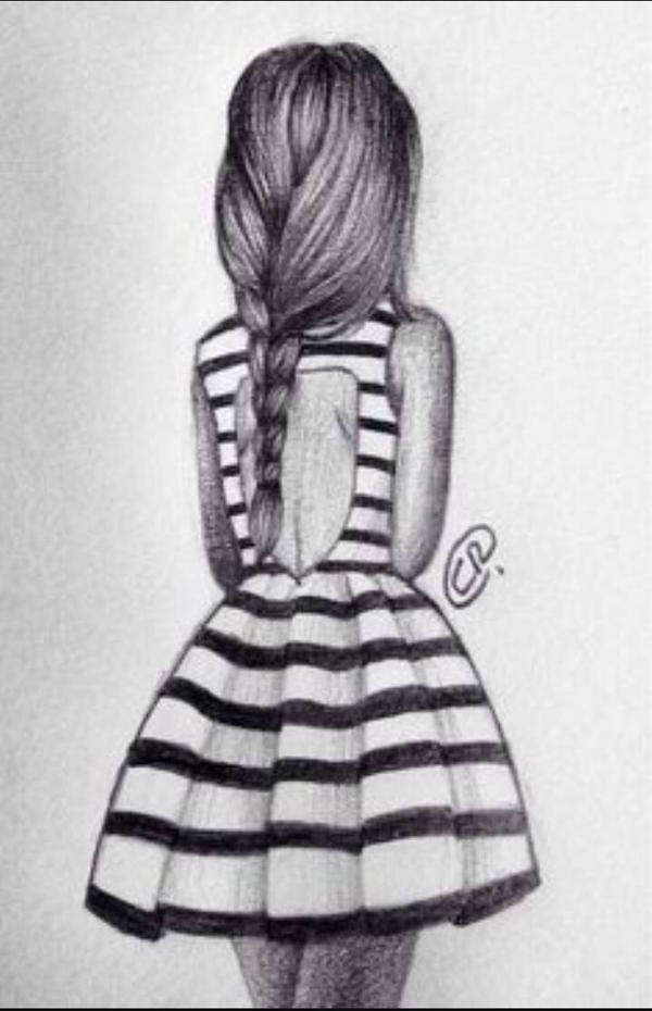 Drawing of a girl in a striped dress by ArtisticSoftball on DeviantArt
