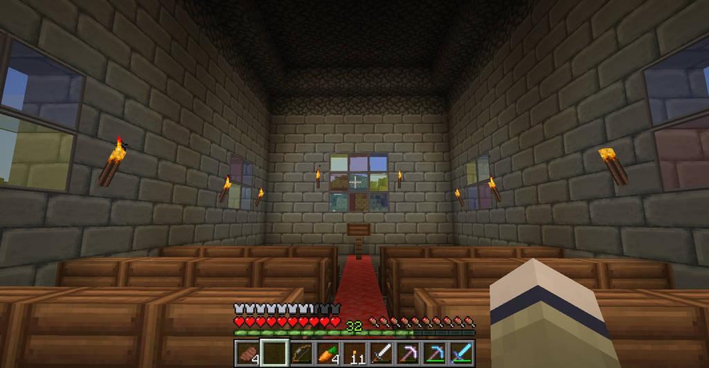 Minecraft church inside by Saraphimwolf