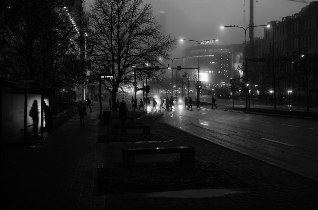 city in heavy fog by dzorma
