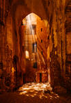 light installation in medieval cathedral ruins