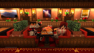 Minecraft-Me and my girlfriend in the restaurant