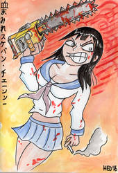 Bloody Delinquent Girl Chainsaw by hed854k