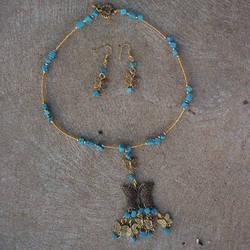 Butterfly necklace n earrings by darkgarden