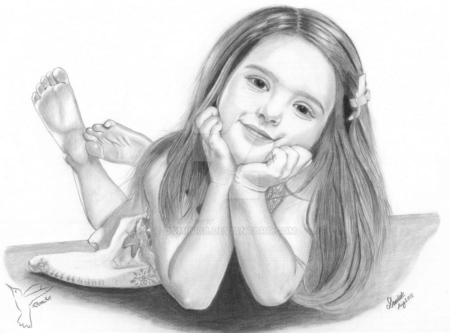 Cute girl pencil drawing by dominic8
