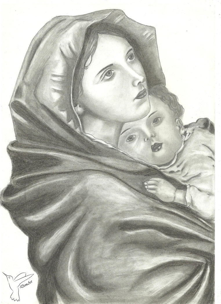 Line Drawing Virgin Mary : Virgin mary with infant jesus by dominic on deviantart
