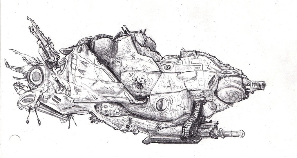 D-3 troop carrier with drones - Sketch Practice by Wisdom-Thumbs