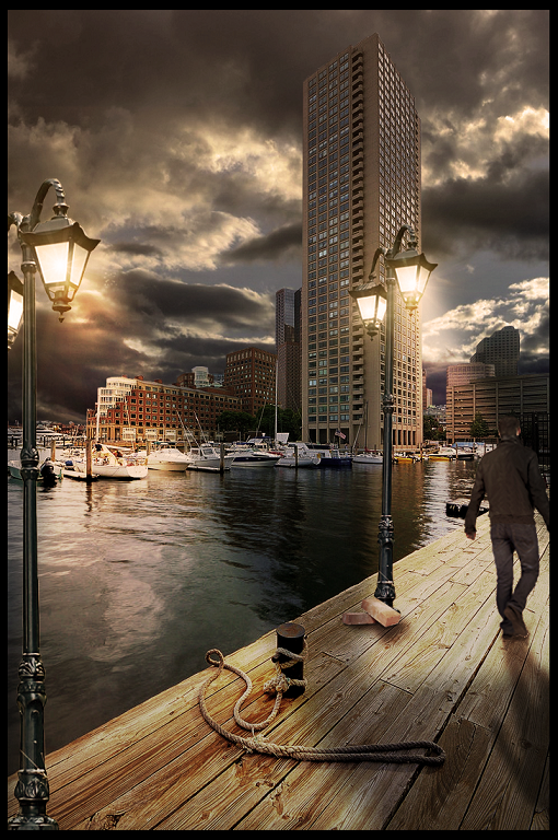 Road to Seaport with darkness by NkDesignTGA