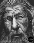 Pencil drawing of Gandalf the Grey