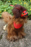Red and Brown Raptor-Dragon Art Doll