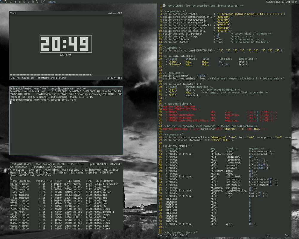 dwm on fresh FreeBSD install by tangramm on DeviantArt
