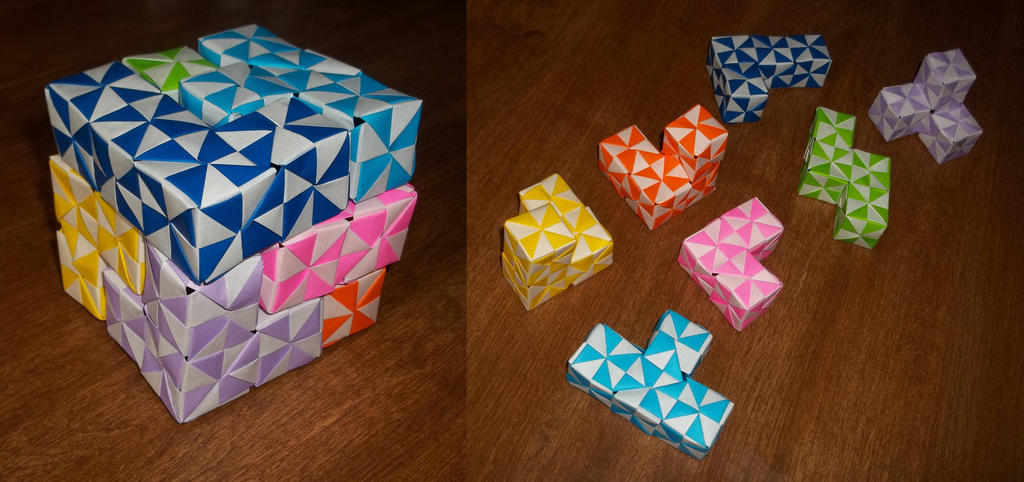 Origami Soma Cube by rboy42