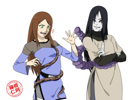 Commission_halfbody_Sarah and Orochimaru