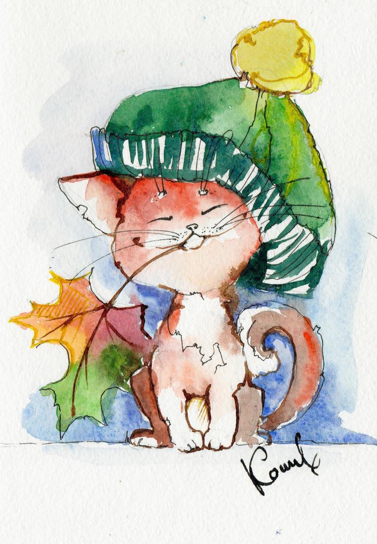 Autumn kitten by LuciKoshkina