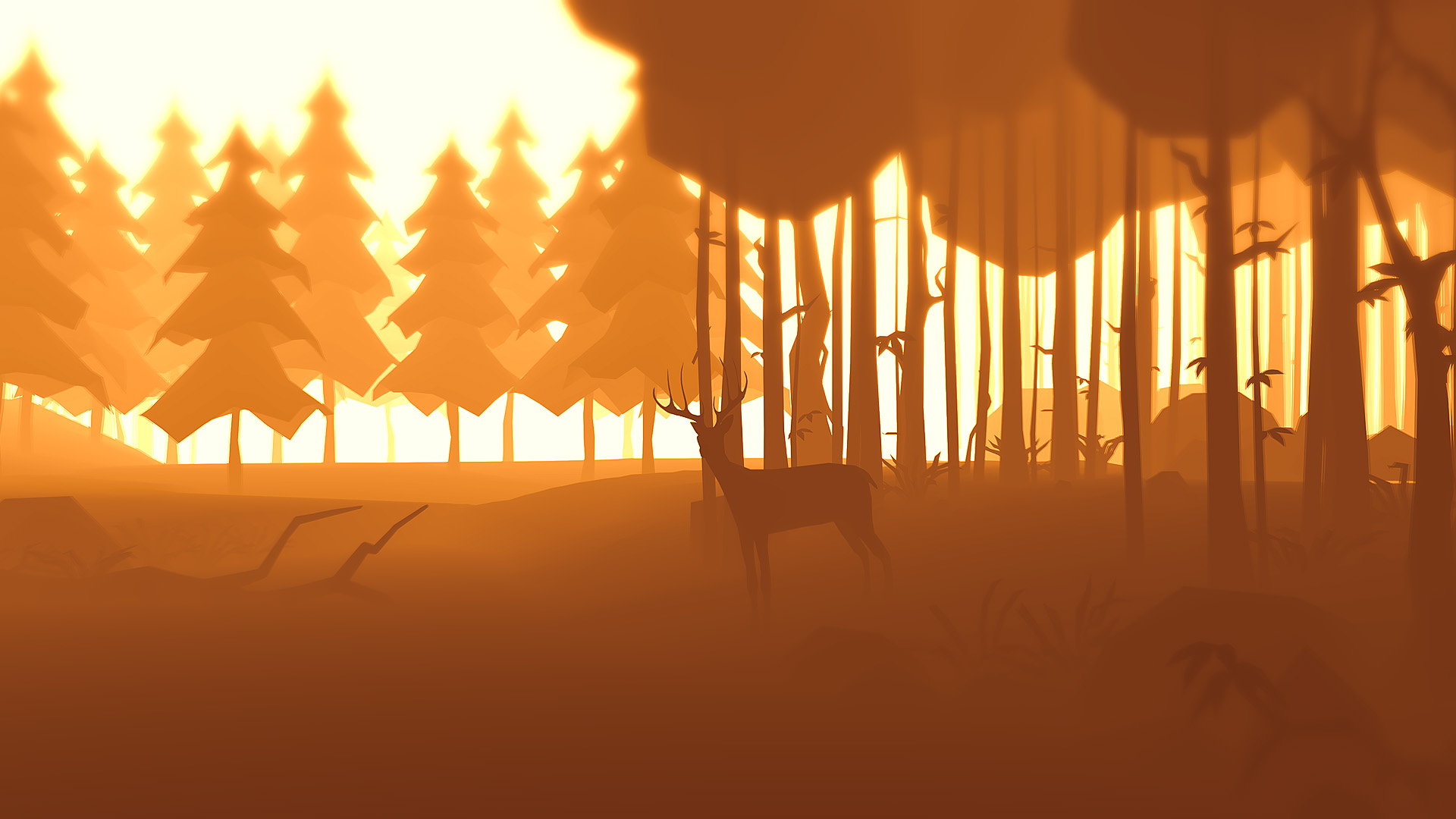 deer in autumn forest by prusakov